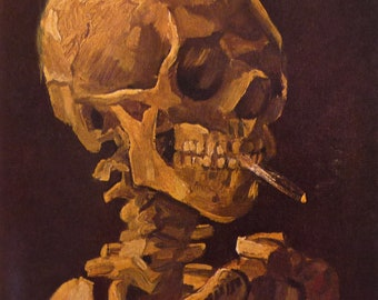 Van Gogh - Skull with Lit Cigarette -  Beautiful art print - surprising and cool gift for artists art lovers  - 8 by 10 print wall art