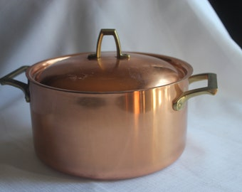 Paul Revere 1801 Copper Stainless Two Handle Sauce Pan with Lid USA Stock Pot