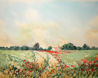 Poppyfield In Summer. A step - by- step watercolour download Project