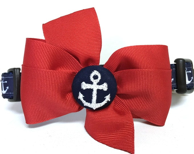 Featured listing image: Dog Collar- The Navy Anchors Collar with removable bow Adjustable collar