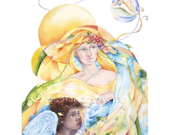 Goddess painting, Watercolor Painting, Mother Earth Painting, Watercolor, Giclee Print, Angel, Mother and Child, Woman