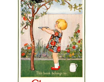 Vintage Bookplates - Kitty in the Tree - Personalized Book Labels, Girl's Library, Cat Lover