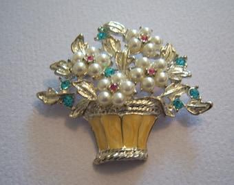 Bouquet Brooch. Flower Basket Brooch.Faux Pearl Posy Pin.