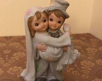 Vintage Wedding Cake Topper Bride and Groom Lefton