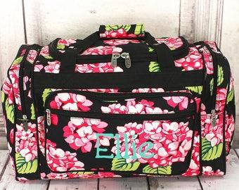 Monogrammed Duffel Bag, Girls Duffel Bag, Monogram Duffel Bag, Duffel Bag, Floral Duffel Bag, School Bag, Personalized, Duffel, Travel Bag