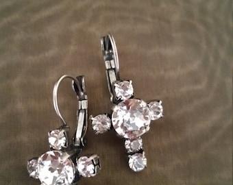 Swarovski Crystal Cross Leverback Earrings in Antique Silver Setting