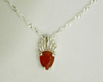 9x7mm Padparadsha Sapphire Gemstone in 925 Sterling Silver Pendant Necklace September Birthstone