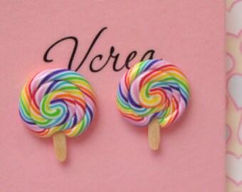 Rainbow Lollipop Studs