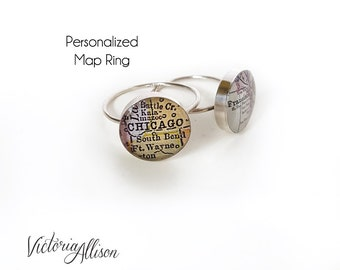 Sterling Silver Map Ring, Personalized, Custom, City, Map Jewelry, Silver Map Ring, Travel, Moving Gift, Vintage Map, Paper Anniversary