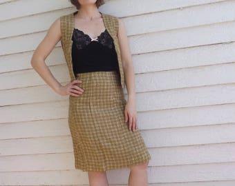 Wool Skirt Neutral Straw Beige Vintage 1950s XS 22 High Waist