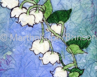 Batik style watercolor giclee print, Art Deco, Lily of the Valley, Muguet des Bois home decor, choose BLACK or WHITE 8x10 inch matte
