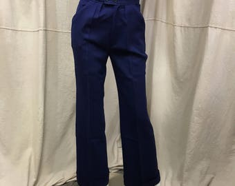 NAVY SAILOR'S TROUSERS / menswear / navy wool twill / 1980's rythy