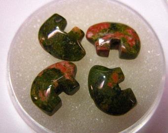 Unakite Tiny Zuni Bear Beads you get Four in a Gem Jar