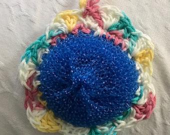 Crochet fleur plat Scrubbies