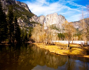 Yosemite Valley archival photographic print - afternoon reflections - waterfall - trees - rock formations - California national park