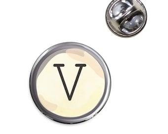 Letter V Typewriter Key Lapel Hat Tie Pin Tack