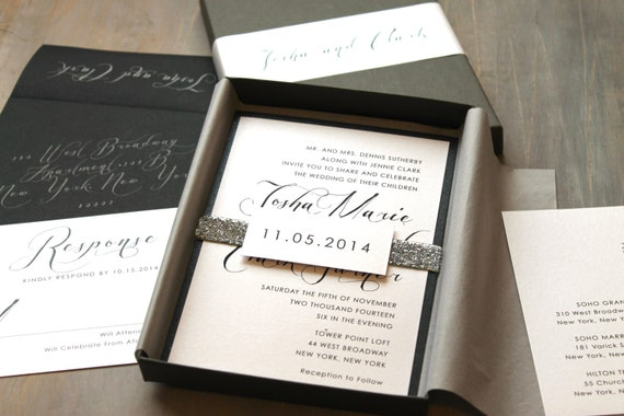 Calligraphy Wedding Invitations Glitter Boxed Wedding