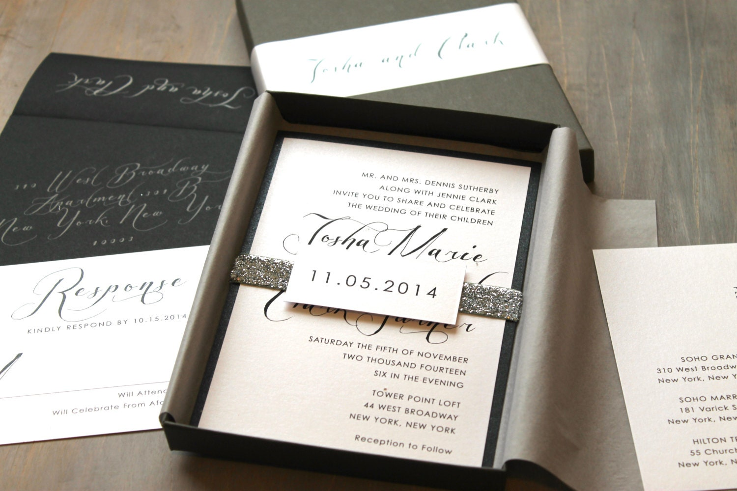 Modern script wedding invitations elegant boxed wedding for Handmade wedding invitations philippines