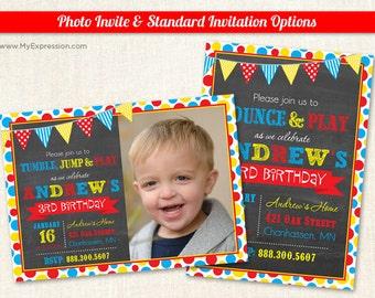 Bright Dots Photo Birthday Invitations - Pump it Up Birthday Party Invitations- Boy Gym Birthday Invitations - Printable