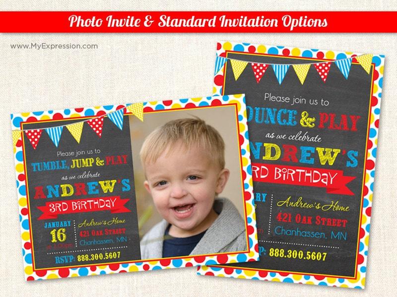 Bright Dots Photo Birthday Invitations Pump it Up Birthday