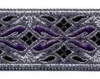 """10 Yard Lot - 7/8"""" Purple Silver Fabric Trim (L7206)"""