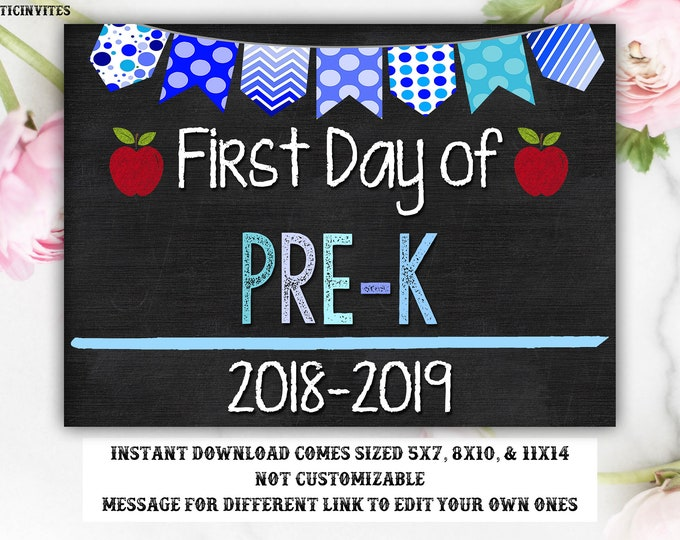 First Day of Pre-K Sign, Instant Download, Boy First Day Sign, First Day Chalkboard Sign, Photo Prop, First Day of School Sign, Pre-K Sign