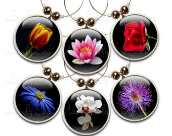 Flower Wine Glass Charms, Wine Charm, Wine Gifts, Colorful, Floral, Flower Gifts, Flower Charms, Wine Charms, Garden, Rose, Garden, Black