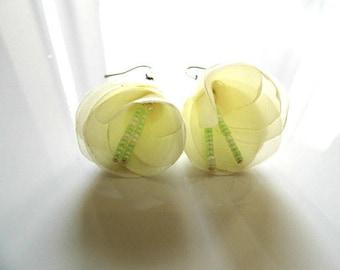 Silk ivory Flower Earrings