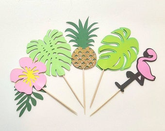 Flamingo and Pineapple Theme Cupcake Topper, 20 PCS, Luau Hawaiian Theme Cupcake Topper, Moana Theme Party Decor, Hibiscus, Leaves, Greenery