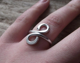 """Silver Aluminum Jewelry Wire Wrap Adjustable Ring Handmade -'Infinity in Silver"""""""