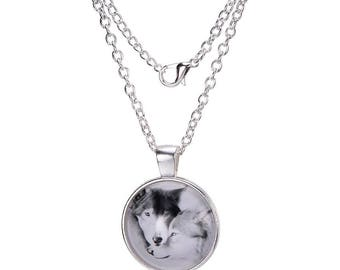 Wolf Pair Silver Necklace
