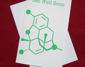Morphine - Get Well Soon - Chemistry Nerd Greeting Card - Green SALE 25% OFF