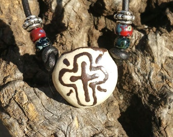 "Aromatherapy Necklace - ""The Mission Cross"" Essential Oil Diffuser, Santa Fe Style, Oil Diffuser, Porcelain pendant, #m6"
