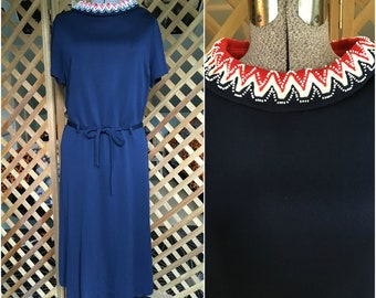Vintage Womens 1960s 1970s Navy Blue Dress with Red White & Blue Beaded Collar Retro Mad Men Style Large XL
