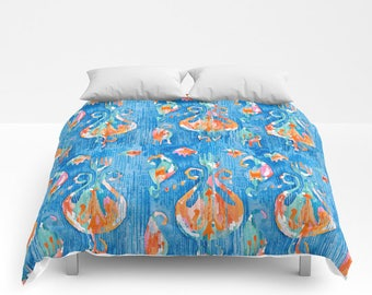 Blue Ikat Duvet Cover Blue Orange Ikat Comforter Boho dorm bedding Paisley fabric bedding twin xl king queen full duvet covers tribal print