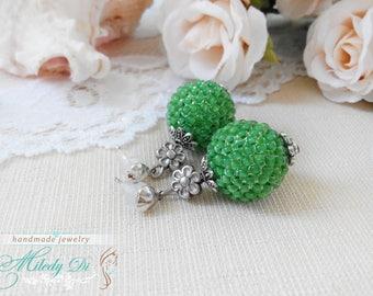 Ball drop earrings Stud tribal jewelry Wife birthday gift Green girl earrings Seed beaded jewelry Bohemian ethnic earrings for her