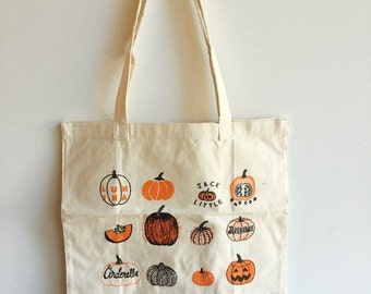 Pumpkin Tote Bag, Halloween Tote, Trick or Treat Bag, Reusable Bag, Market Tote