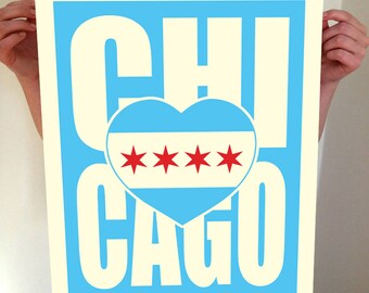 Chicago, CHI, Chicago Heart, Chicago Illinois, I Heart CHI, Chicago Art, Chicago City Print, Chicago Map, Chicago Print, Typography