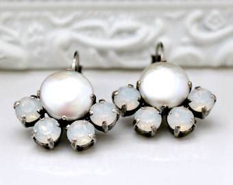 Freshwater Pearls With White Opal Swarovski Crystals Set in Antique Silver Leverback Earrings