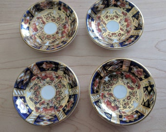 Vintage Collectible Crown Staffordshire Traditional Imari Butter Pat Plate, Set of 4