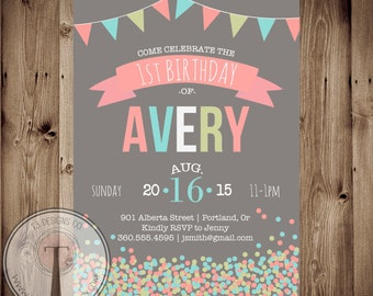 Confetti birthday invitation, girls birthday, tween birthday, 1st, 2nd, 30th birthday, 40th, 21st birthday, party invitation, any age, 14116