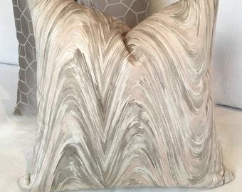 Beige, Cream & Blush Pink Throw Pillow in Marble Swirl Pattern w/ Brass Zipper