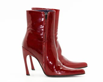Red painted boots freelance