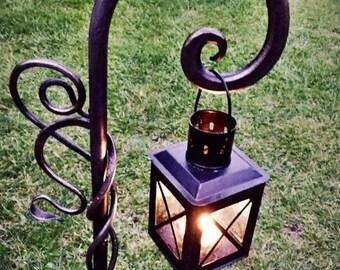Hand-Forged Handmade Blacksmith Cast Iron Plant Hanger/Lantern Holder Stand