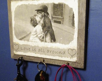 Rustic Chic 'Love Is All Around' Key Rack or Jewelry Hanger, 1900's Kissing Kids Wall Decor, Mixed Media