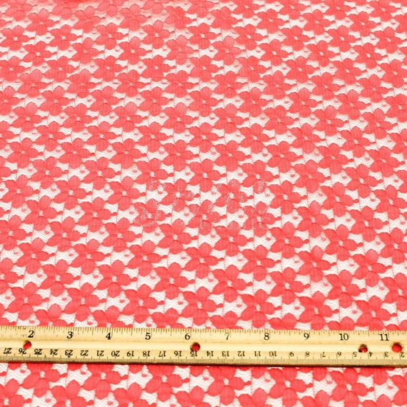 Stretch Lace Fabric Coral by the yard Kate Floral Pattern