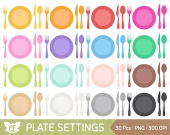 Plate Setting Clipart, Meal Settings Clip Art, Plates Utensils Cutlery Eating Spoon Fork Knife Dinner Dining Images, Commercial Use