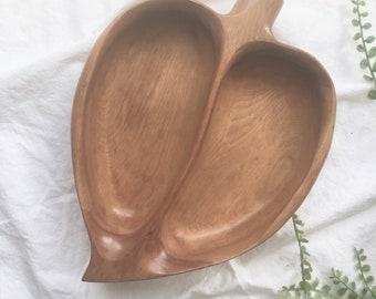 Leaf shaped serving dish/ wood tray