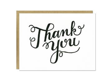 Set of 6 - Thank You Script Letterpress Cards