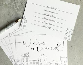 We've moved! Pack of five new address notecards with Kraft envelopes